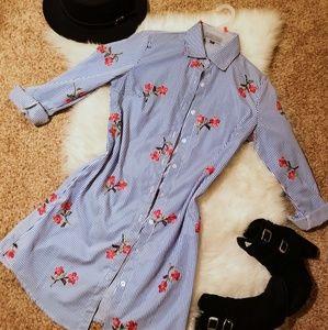 Button up floral/stripe dress